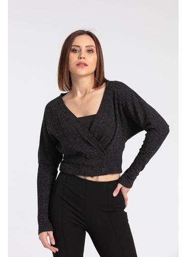 Jument Kadın Fitilli Triko Anvelop Kruvaze Düşük Omuzlu Uzun Kol Crop Hırka-Siyah Siyah